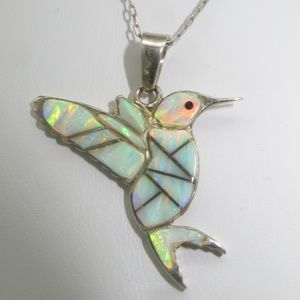 Signed Sterling Opal Inlay Hummingbird Necklace